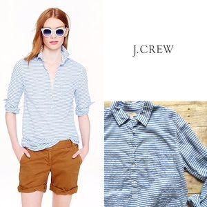 J. Crew rumpled blue stripe popover